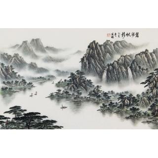 袁发旺四尺三开青绿山水画《碧水帆影》