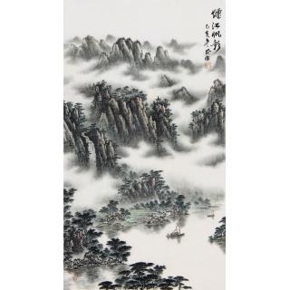【已售】袁发旺四尺三开青绿山水画《烟江帆影》