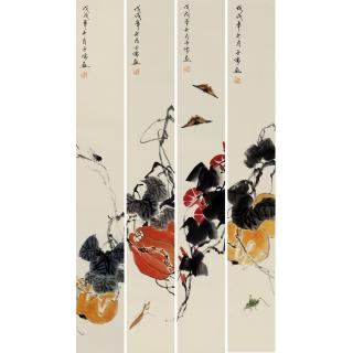 白石后人王子儒老师最新四条屏作品《吉祥如意》
