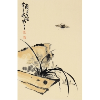 齐白石嫡传弟子 王子儒写意兰花图《兰草》