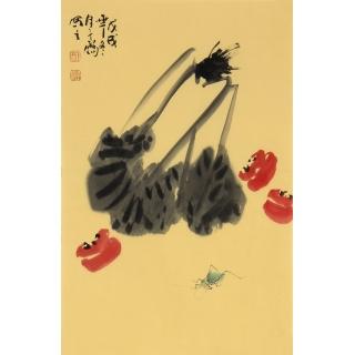 国画大师齐白石后人王子儒四尺三开花鸟作品《百财图》
