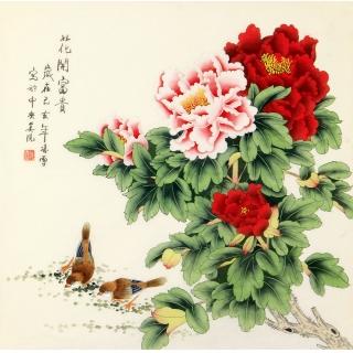 凌雪斗方工笔国画牡丹图《花开富贵》