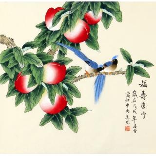 长寿图 当代画家凌雪花鸟画作品喜鹊寿桃《福寿康宁》