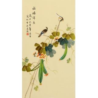 凌雪三尺竖幅花鸟画《福禄绵长》