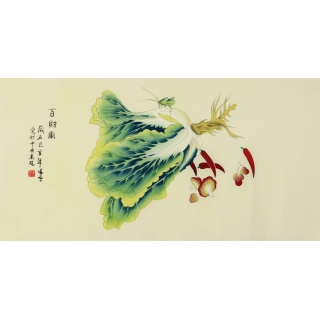 画家凌雪工笔三尺横幅花鸟画招财旺运《百财图》