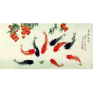 红荔九鱼图 凌雪三尺横幅新品花鸟画《吉利有余》