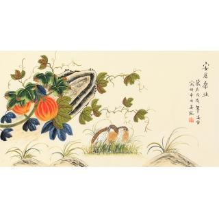 凌雪三尺横幅花鸟画作品《安居乐业》