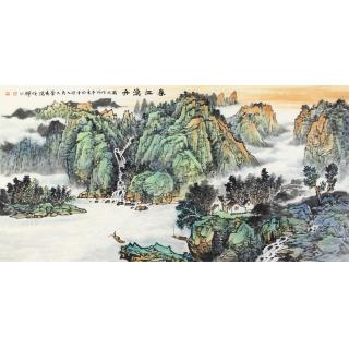 李焕辉四尺横幅写意山水画作品《春江渔舟》