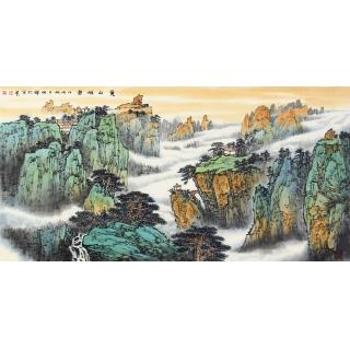 画坛实力派 李焕辉新品青绿山水国画作品《黄山祥云》