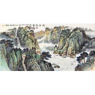 李焕辉最新力作四尺横幅青绿山水画《峡江帆影》