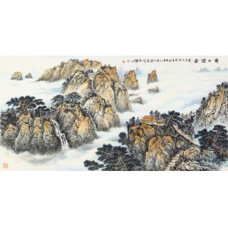 室内装饰画 李焕辉四尺横幅青绿山水画《黄山烟云》