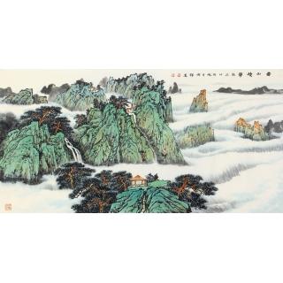 李焕辉四尺横幅青绿山水画《云山積翠》