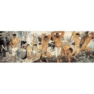 徐悲鸿中西合璧写实大型工笔人物画《愚公移山图》