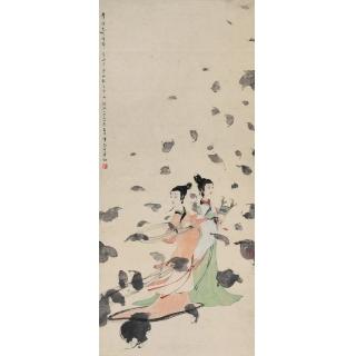 傅抱石1954年作湘君和湘夫人仕女图《二湘图》