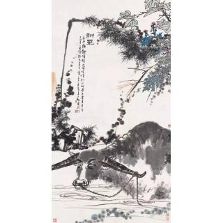 国画大师潘天寿写意动物画水牛图《耕罢》