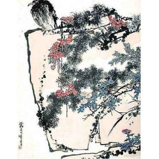 国画大师潘天寿写意花鸟画《鹰石山花图》