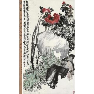 吴昌硕晚年写意花鸟画《富贵寿石图》