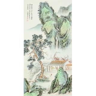 陈少梅三尺竖幅工笔山水画《山居幽赏入秋多》
