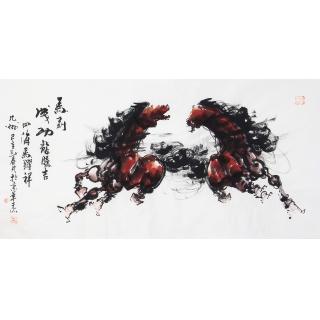 国画骏马图 王杰四尺横幅动物画作品《马到成功》