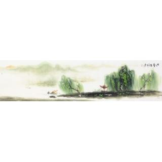 实力派画家云天四尺对开山水画《唐人诗意》