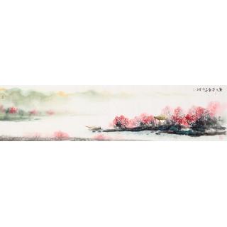 客厅装饰画 云天四尺对开山水画《唐人诗意图》
