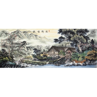 徐承国最新力作八尺横幅精品山水画作品《故乡情韵》