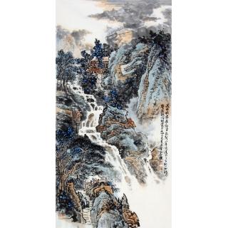 李朴老师新品四尺竖幅原创真迹《瀑布横飞》
