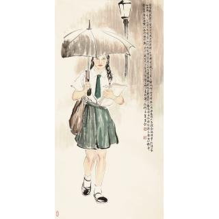 何家英四尺竖幅人物画《澳门女学生》