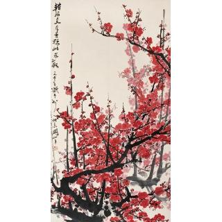 岭南画派代表人物 关山月写意花鸟画《梅花》