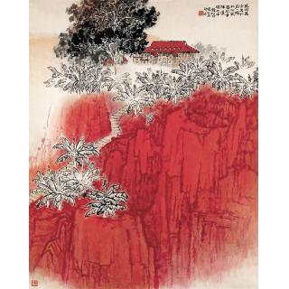 新金陵画派的创立者钱松喦书画精品《红岩》