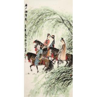 冯远四尺竖幅人物画《唐人游春图》