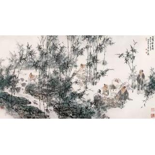王明明四尺横幅人物画《竹林七贤》
