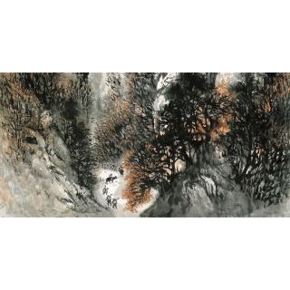 名家字画 石鲁国画山水作品《南泥湾途中》