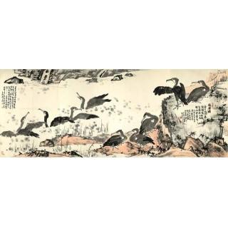名家字画 李苦禅国画写意花鸟画作品《渔乐图》