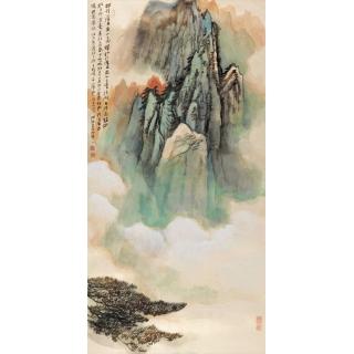 长安画派代表画家何海霞国画山水画《黄山》