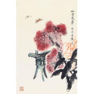 送礼佳作 书画名家郭源写意花鸟作品《加官进爵》