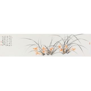 张明弘老师写意兰花作品《茶兰》