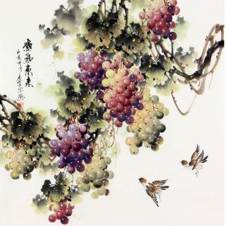 李正宗四尺斗方国画葡萄图《紫气东来》
