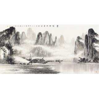 客厅挂画 画家莫桂明四尺横幅水墨漓江山水画《家家都在画屏中》