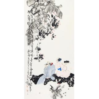 赵大伟四尺竖幅人物画《春有百花》