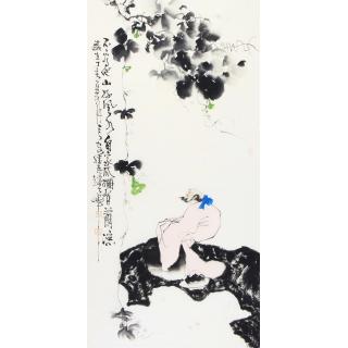 赵大伟四尺竖幅人物画《不看他家好风水》