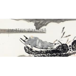 赵大伟四尺横幅人物画作品《不问前程不问官》