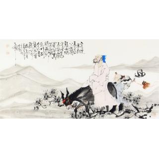 赵大伟四尺横幅人物画作品《客从东方来》