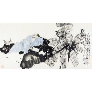 高士图 赵大伟四尺横幅写意人物画《听竹图》