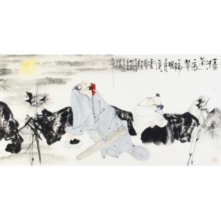 中美协会员 赵大伟四尺横幅人物画《一壶清茶》