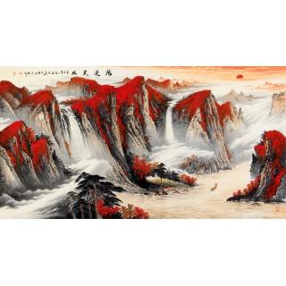 万山红遍聚宝盆 陈厚刚最新力作风水画《鸿运天成》