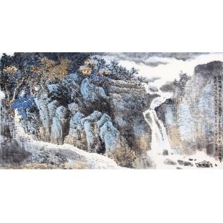 李朴新品原创泼彩山水画作品《瀑布横飞》