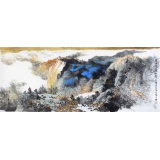 【已售】李朴最新力作六尺横幅泼墨重彩山水画作品《画图今日写秋聲》