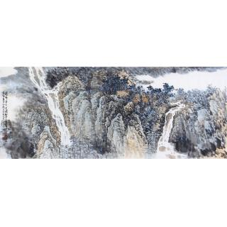 李朴六尺横幅泼墨重彩山水画作品《瀑布》