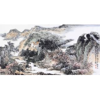 李朴四尺横幅写意山水画作品《春溪》